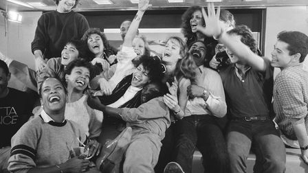 The Kids from Fame at Schiphol Airport, Amsterdam, in March, 1983. Gene Anthony Ray is in the back r
