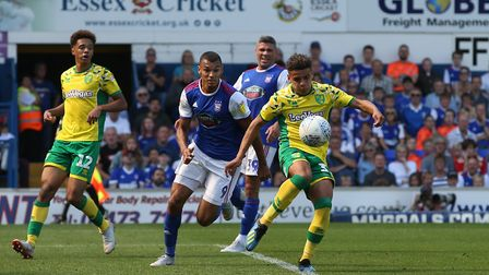 Max Aarons of Norwich clears the ball during the Sky Bet Championship match at Portman Road, Ipswich