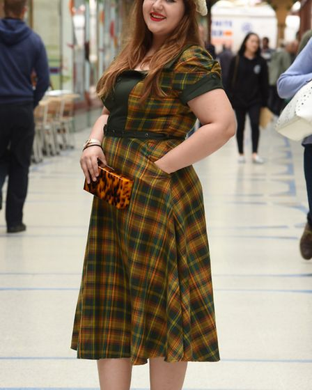 Abigail Nicholson tries out a 40s style autumn dress from Lady B Loves in the Royal Arcade. Picture: