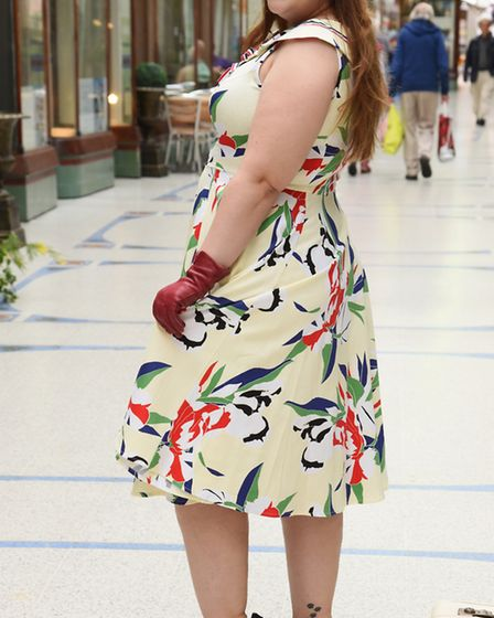 Abigail Nicholson tries out a 40s style late summer dress from Lady B Loves in the Royal Arcade. Pic