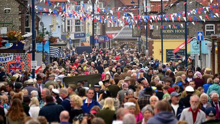Crowds flock to Sheringham for the 1940s weekend.Photo: ANTONY KELLY