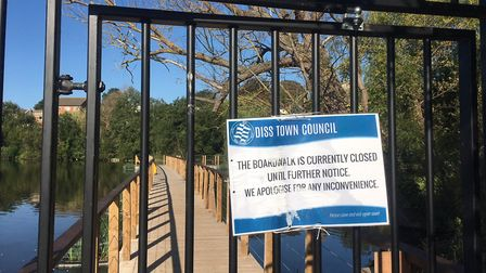 The boardwalk at Dere Mere has been closed to the public because of a dangerous tree. Picture: Simon