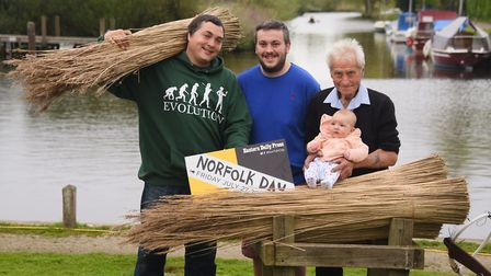 Reedcutter, Wally Mason, right, who is organising a family day for Norfolk Day at Rockland St Mary.