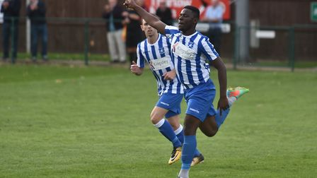 Wroxham's Cruise Nzadayo was on target at Gorleston Picture: Sonya Duncan