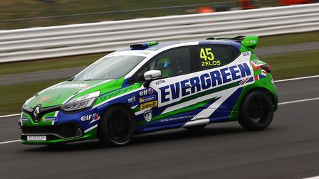 Dan Zelos led his first Renault Clio Cup race of the season at Silverstone with his Evergreen Tyres-