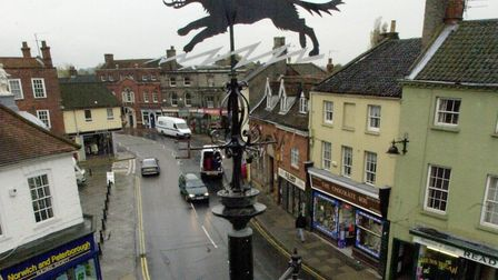The Bungay Black Dog is depicted in the town's weather vane in Market Square.Picture: Adam Scorey