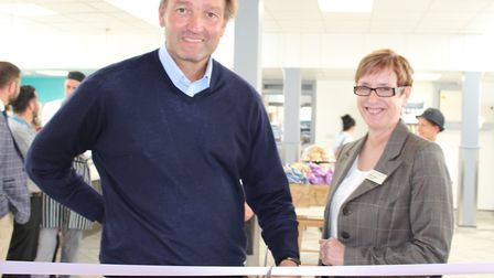 Galton Blackiston with James Paget Hospital's Chief Executive Christine Allen, opening Aubergine Re
