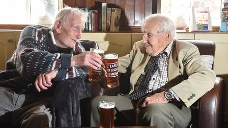 Pip Harrison, left, who is 103 years and 3 months old, and his brother Alan Harrison, who is 96 year