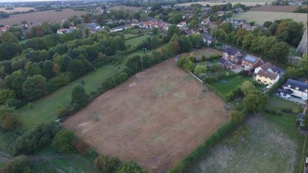 The church owned land that has been cleared in Pulham St Mary as seen from above. Picture: Clayton H