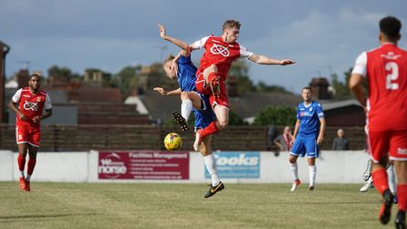 Lowestoft's ArmaniSchaar and Tamworth's Jordan Clement in aerial action Picture: Shirley D Whitlow