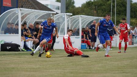Lowestoft's Armani Schaar., left, and Shaun Bammant on the charge Picture: Shirley D Whitlow