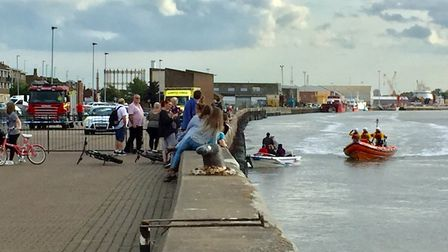 The area near the River Yare along South Quay was cordoned off as emergency services got to work. Ph