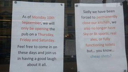 The notices posted on the Prince of Wales pub. Photo: Archant