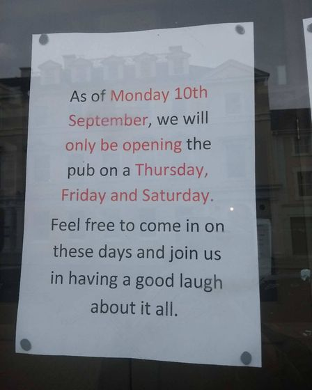 The notice posted on the Prince of Wales pub. Photo: Archant
