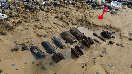 The spot on the beach west of Sheringham where Chris Gleadell uncovered the remains of a German bomb