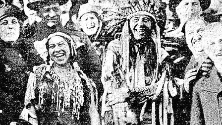 Edgar Laplante, aka Chief White Elk, and his new bride, Burtha Thompson, just after their marriage c
