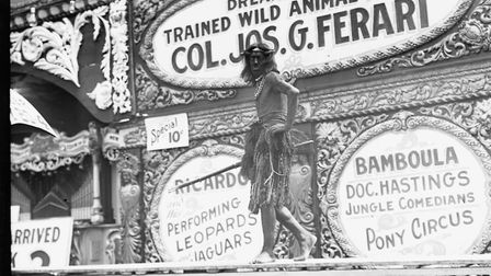 A ballyhoo man at work at the Greater Dreamland amusement park, Coney Island,in about1911 Pictur