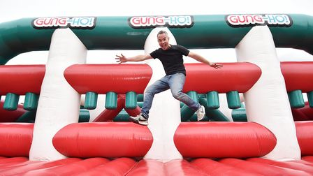 Setting up of the Gung-Ho! 5k obstacle course at Earlham Park. Gung-Ho! event manager, Alex Winters.