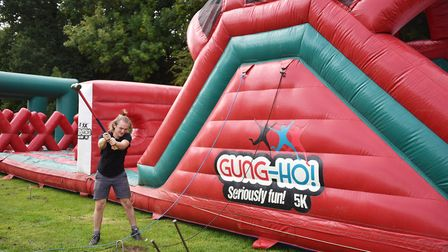 Setting up of the Gung-Ho! 5k obstacle course at Earlham Park.Picture: ANTONY KELLY