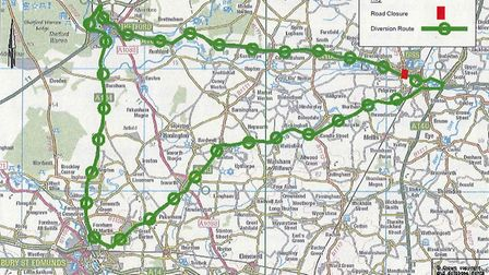 The suggested diversion route via Bury and Edumnds and Thetford following the closure of the A1066 i