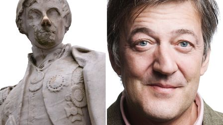 Lord Nelson, in Cathedral Close - written and voiced by Stephen Fry. Photos: Talking Statues / Libra