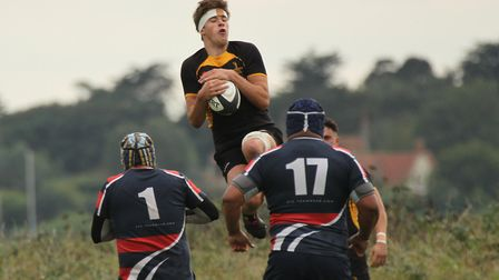 Milo Cawkwell leaps high to collect during Southwold's match against Stowmarket Picture: LINDA CAYLE