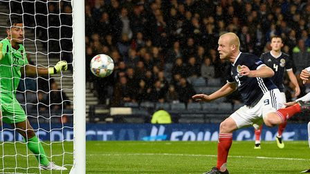 Steven Naismith struck the post with a first half header Photo: Ian Rutherford/PA Wire