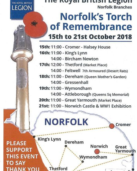 Norfolk's Torch of Remembrance leaflet. Picture. Royal British Legion.
