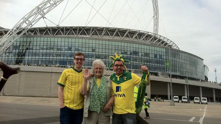 Tom, Eveline and Ian Clarke outside Wembley before the playoff final. Photo: Submitted