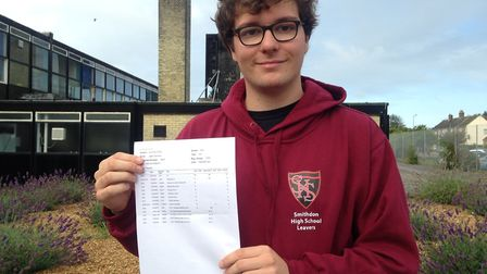 Jame McAllister Dorman is happy with his GCSE results, at Smithdon High School in Hunstanton Picture