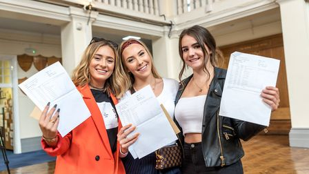 Lauren Noble, Erin Taylor and Lucy Koenisberger picked up their GCSE results at KES Academy in King'