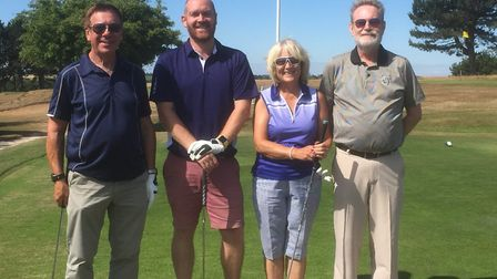 The Am Am winners - Stephen Hall, Adam Brown, Diana Clarke and David Clarke. Picture: Mundesley Golf