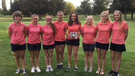 The Norfolk girls team who performed with distinction at Letchworth Golf Club line up for a team pho