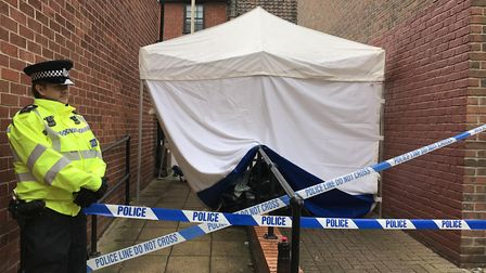 Scene where the body of a man was found in an alleyway leading to Murrell's Court. Picture: Archant