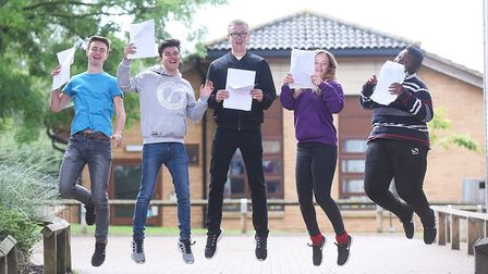 GCSE results day at Downham Market Academy. Pictured are (from left) Ted, Leo, Kieran, Georgia and D