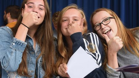 Delighted students happy with their GCSE results at Attleborough Academy. From left, Mia Kruger, Jes