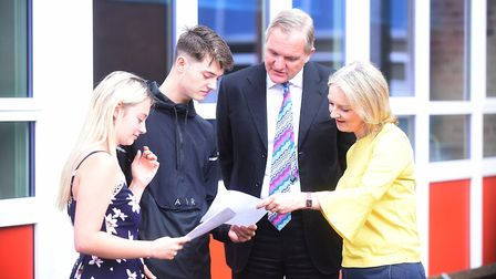 GCSE results day at the Downham Market Academy. Pictured with Liz Truss MP and Principal Rolf Purvis