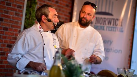 The Norwich Food and Drink Festival. Steve Thorpe (left) and Charlie Hodson giving a cookery demo. P