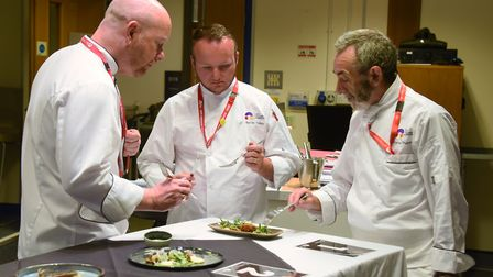 Judges, from left, Joe Mulhall, Martin Colley, and Steve Thorpe, at the Chef of the Year competition