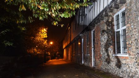 The shadow of the Gildencroft Bogey at the Gildencroft tudor cottages near St Augustines Street. Pic