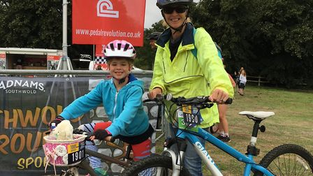 Thalia and I at the start when she's confident she will chat all the way round. Picture contributed