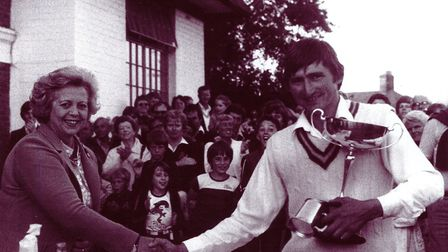 Lady Mary Carter-South presents the trophy to Ingham skipper Paul Borrett in 1981 Picture: RG CARTER