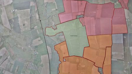 A map of the garden town proposed for mid Norfolk, between the villages of North Elmham, Billingford