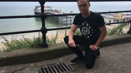 Tim Adams, the former youngest ever mayor of Cromer, is concerned about the damage to the pavement.