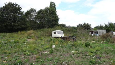 The field at the Swanton Road Travellers' site which was formed from waste dumped at the tip. The ow