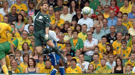 Norwich City v Colchester United in August 2009. Keeper Michael Theoklitos misses the ball for the f