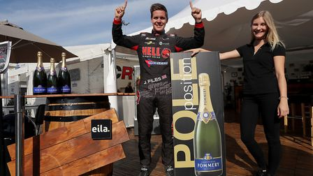 Poringland''s Josh Files celebrating claiming pole position in the lastest round of the TCR Europe C