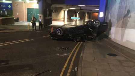 The scene of a crash outside Castle Mall car park in Norwich on Tuesday, August 21, 2018. Photo: Ger