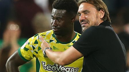 The relief was obvious for Alex Tettey and Daniel Farke at full-time against Preston Picture: Paul C