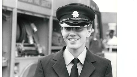 Josephine Reynolds firefighter passing out at Wymondham Fire Station in September 1983. Picture: Arc